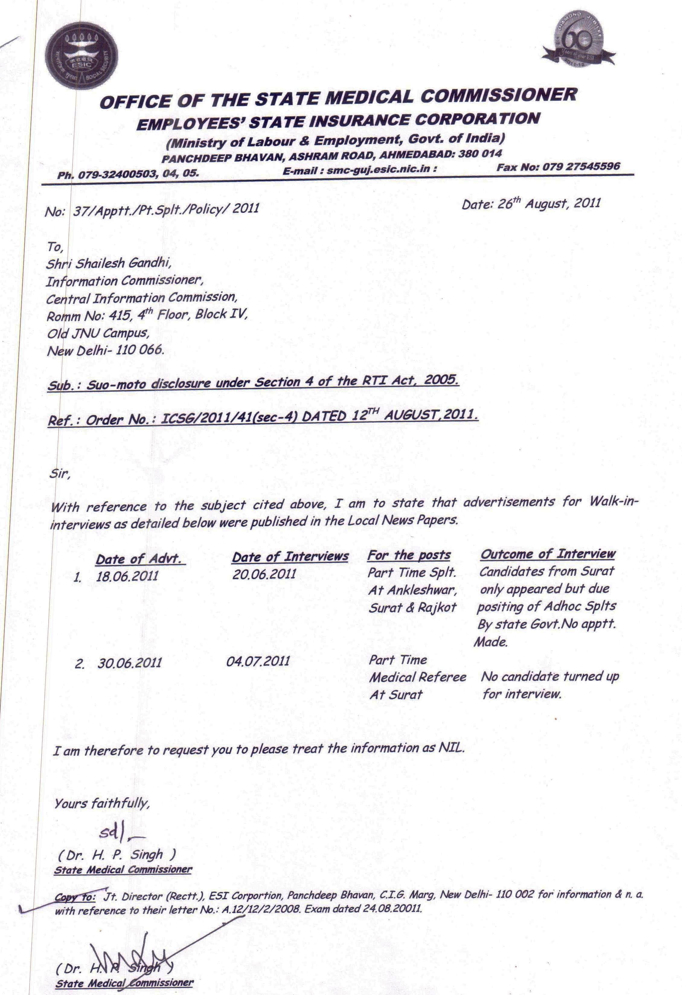 Right to information employees state insurance corporation 19 letter dated 26082011 from smc gujarat on the subject suo moto disclosure us 4 of the rti act2005 mitanshu Choice Image