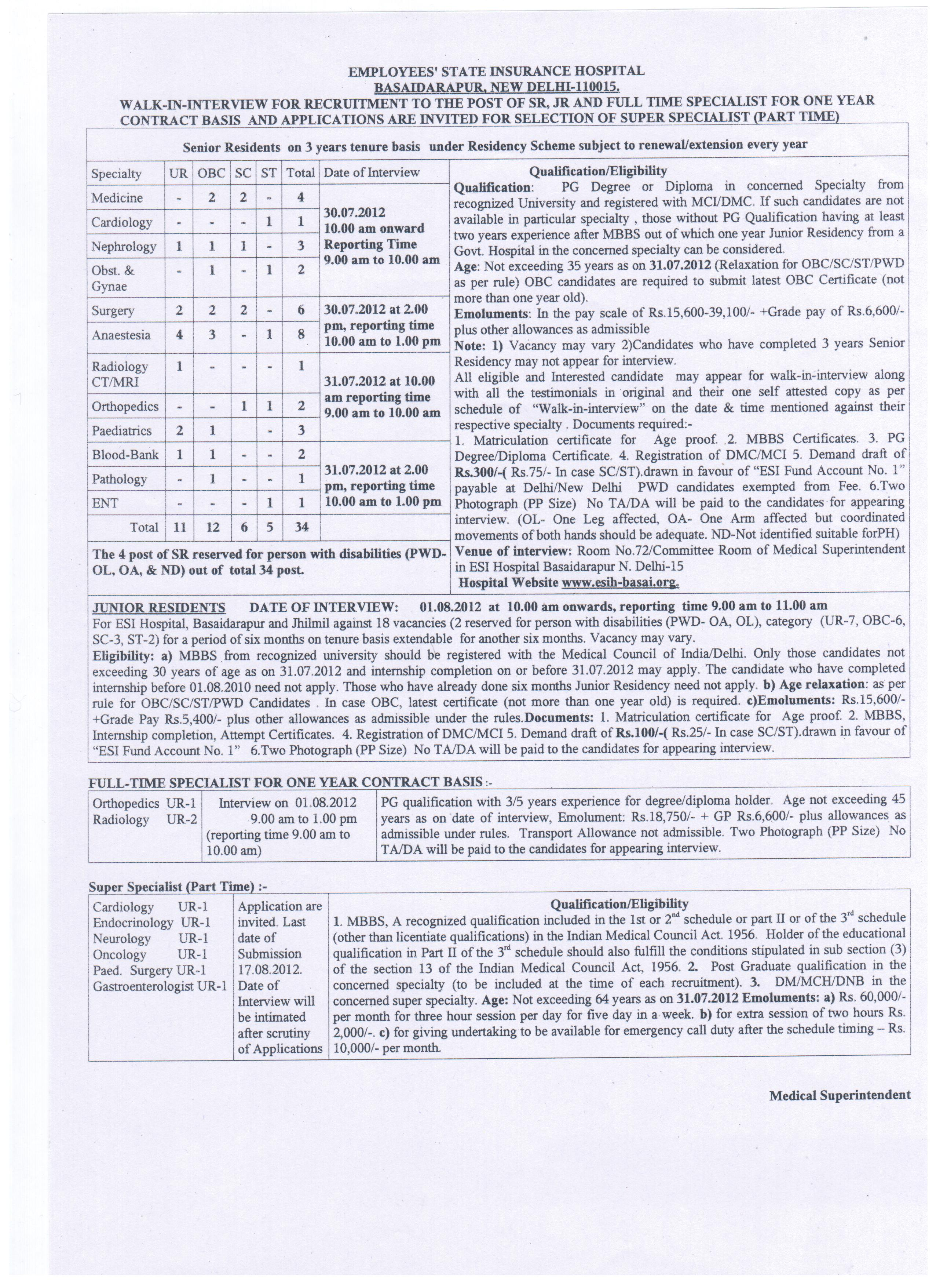 Recruitments 2012   Employee's State Insurance Corporation, Ministry