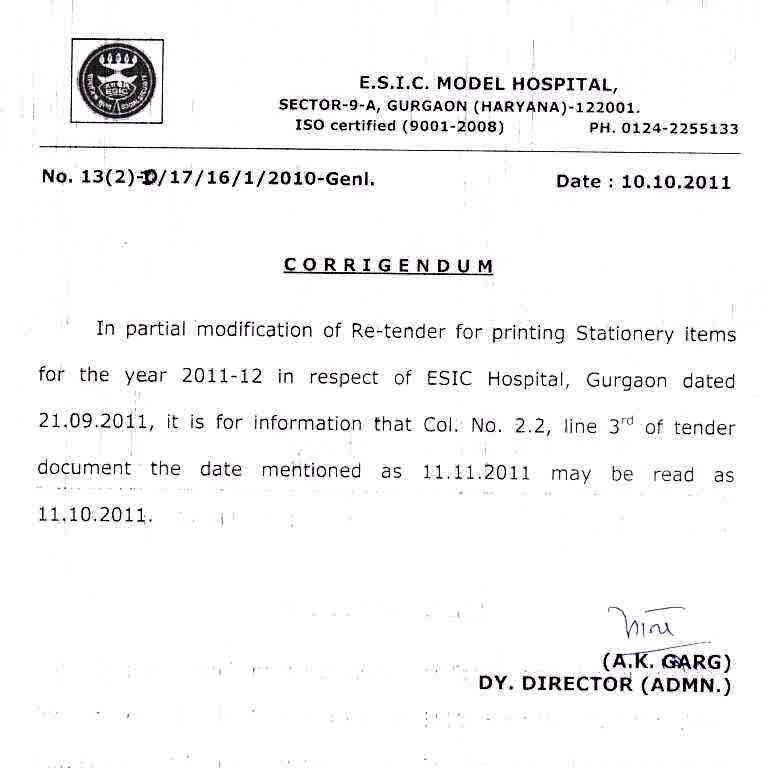 Tender 2011 employees state insurance corporation ministry of corrigendum wrt re tender for printing stationery items spiritdancerdesigns Choice Image