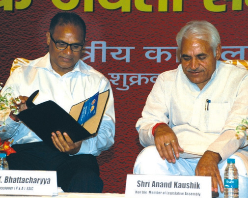 Shri Anand  Kaushik, Hon'ble M.L.A. and Shri T.K. Bhattacharyya, Commissioner, ESIC during Diamond  Jubilee Year Concluding Ceremony at Faridabad, Haryana.