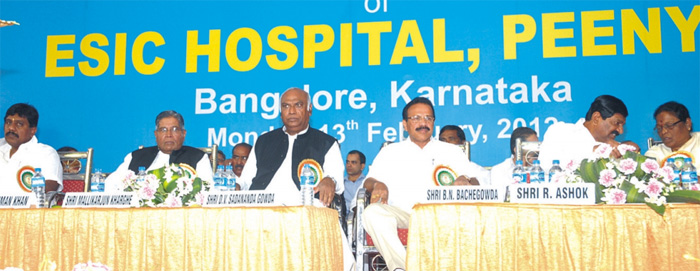 A view of the dignitaries on dais during Inauguration of ESIC Hospital, Peenya, Karnataka.