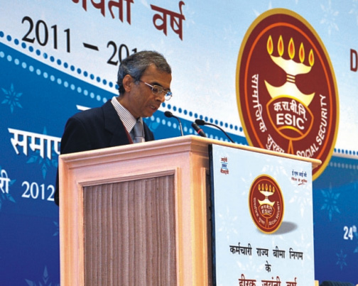 Dr. C.S. Kedar, Director General, ESIC, delivering his welcome speech.