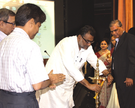 Lighting up of inaugration lamp at ESIC Diamond Jubilee Year Concluding Ceremony in Kolkata, West Bengal.