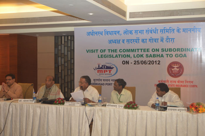 Visit of the Committee on Subordinate legeslation, Lok Sabha to Goa.